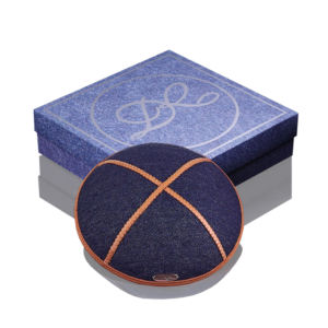 Kippah «Classic» dark-blue jeans orange edging