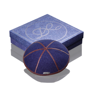 Kippah «Modern» jeans dark blue with dark brown edging