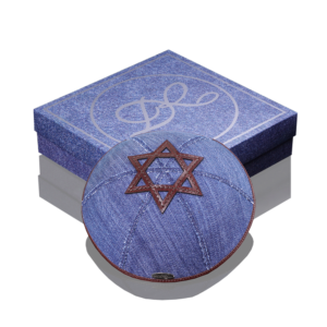 "Kippah «770» jeans blue with dark brown rim ""Star of David"""