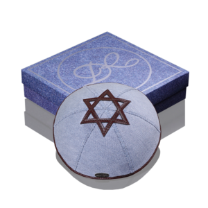 "Kippah «770» jeans light blue with dark brown rim ""Star of David"""