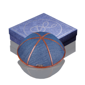 """Kippah """"770"""" jeans blue with brown edging"""